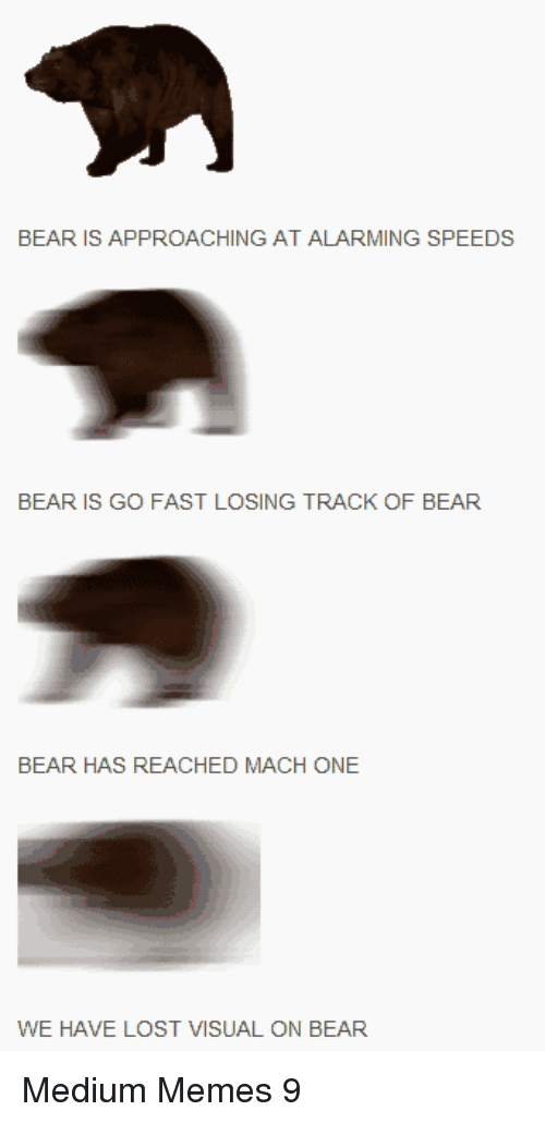 Memes, Lost, and Bear: BEAR IS APPROACHING AT ALARMING SPEEDS  BEAR IS GO FAST LOSING TRACK OF BEAR  BEAR HAS REACHED MACH ONE  WE HAVE LOST VISUAL ON BEAR Medium Memes 9