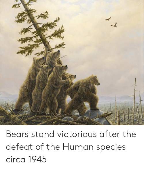 Victorious: Bears stand victorious after the defeat of the Human species circa 1945