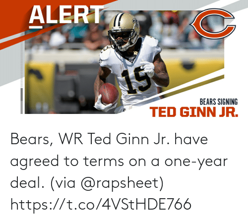 year: Bears, WR Ted Ginn Jr. have agreed to terms on a one-year deal. (via @rapsheet) https://t.co/4VStHDE766
