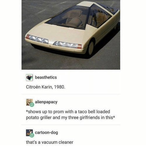 karin: beasthetics  Citroen Karin, 1980.  alien papacy  *shows up to prom with a taco bell loaded  potato griller and my three girlfriends in this*  cartoon-dog  that's a vacuum cleaner