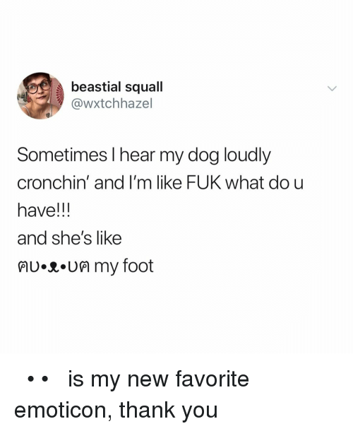 emoticon: beastial squall  @wxtchhazel  Sometimes l hear my dog loudly  cronchin' and I'm like FUK what dou  have!!  and she's like  lU.R.UM my foot ฅʋ•ᴥ•ʋฅ is my new favorite emoticon, thank you
