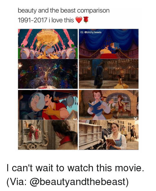 i cant wait to watch this movie: beauty and the beast comparison  1991-2017 i love this  IG: @bitchy tweets I can't wait to watch this movie. (Via: @beautyandthebeast)