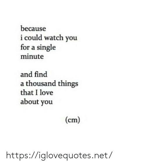 Thousand: because  i could watch you  for a single  minute  and find  a thousand things  that I love  about you  (cm) https://iglovequotes.net/