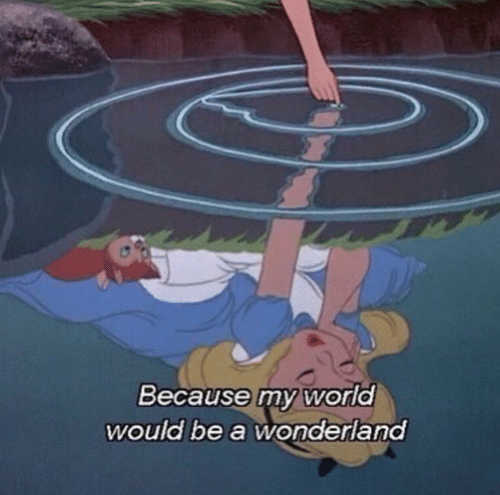World, Wonderland, and Because: Because my world  would be a wonderland