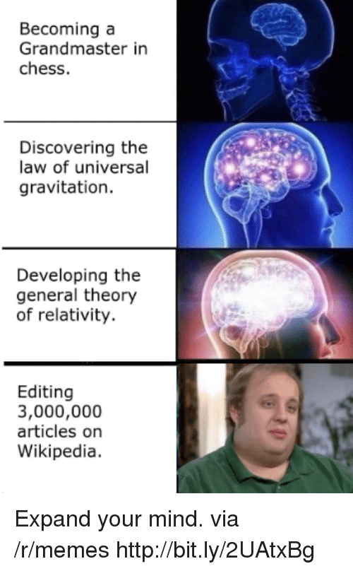 theory of relativity: Becoming a  Grandmaster in  chess.  Discovering the  law of universal  gravitation.  Developing the  general theory  of relativity.  Editing  3,000,000  articles on  Wikipedia. Expand your mind. via /r/memes http://bit.ly/2UAtxBg