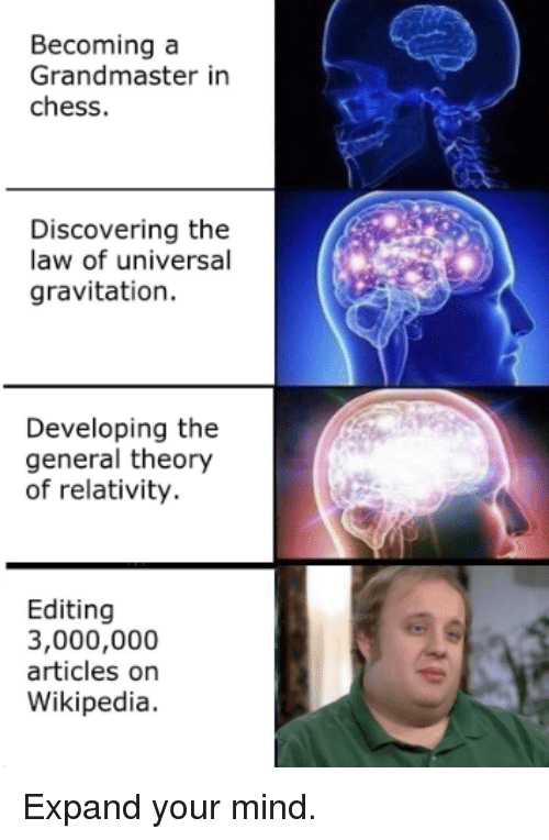 theory of relativity: Becoming a  Grandmaster in  chess.  Discovering the  law of universal  gravitation.  Developing the  general theory  of relativity.  Editing  3,000,000  articles on  Wikipedia. Expand your mind.