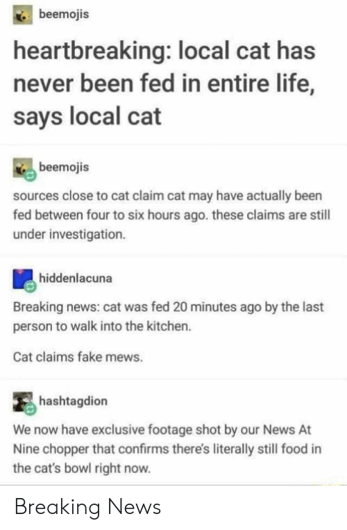 Investigation: beemojis  heartbreaking: local cat has  never been fed in entire life,  says local cat  beemojis  sources close to cat claim cat may have actually been  fed between four to six hours ago. these claims are still  under investigation.  hiddenlacuna  Breaking news: cat was fed 20 minutes ago by the last  person to walk into the kitchen.  Cat claims fake mews.  hashtagdion  We now have exclusive footage shot by our News  Nine chopper that confirms there's literally still food  the cat's bowl right now. Breaking News