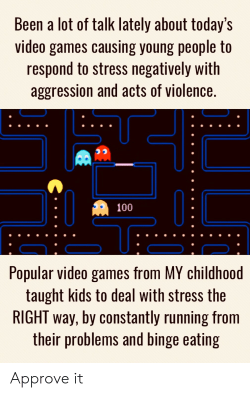 Aggression: Been a lot of talk lately about today's  video games causing young people to  respond to stress negatively with  aggression and acts of violence.  100  Popular video games from MY childhoo  taught kids to deal with stress the  RIGHT way, by constantly running from  their problems and binge eating Approve it