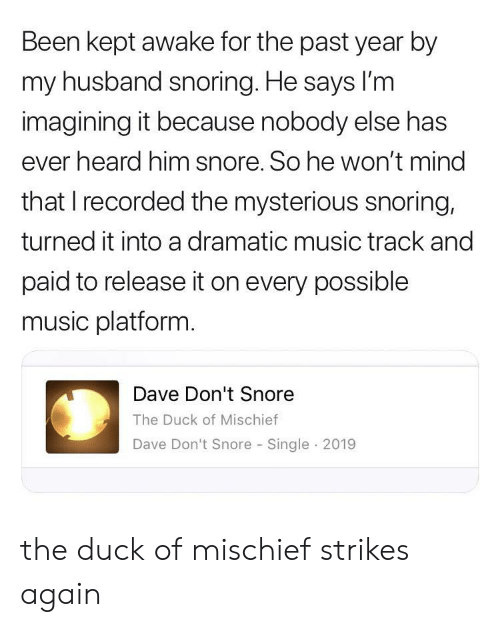 imagining: Been kept awake for the past year by  my husband snoring. He says lI'm  imagining it because nobody else has  ever heard him snore. So he won't mind  that I recorded the mysterious snoring,  turned it into a dramatic music track and  paid to release it on every possible  music platform.  Dave Don't Snore  The Duck of Mischief  Dave Don't Snore Single 2019 the duck of mischief strikes again