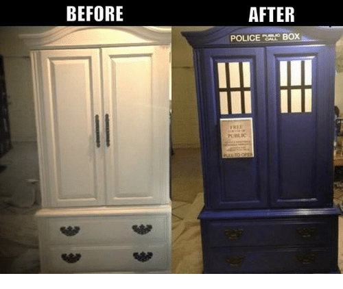 police box: BEFORE  AFTER  POLICE  BOX  FREE