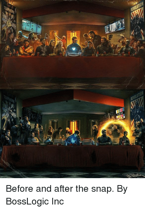 Dank, 🤖, and Snap: Before and after the snap.  By BossLogic Inc