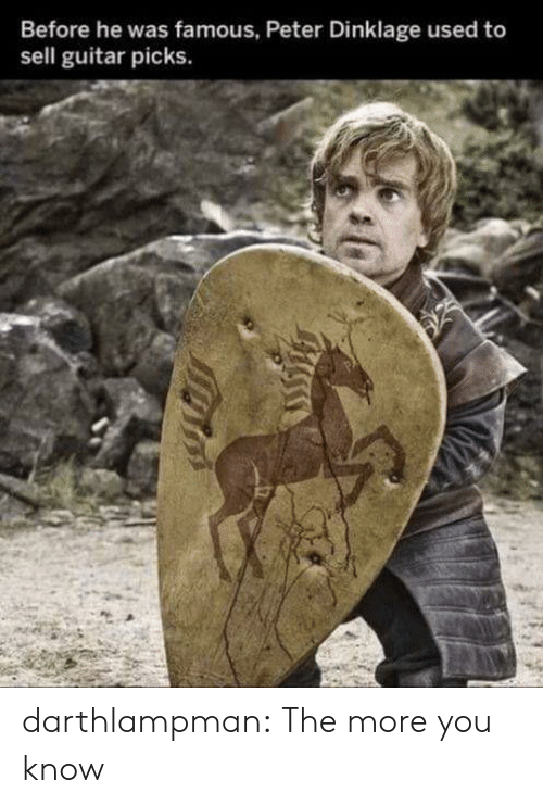 Peter Dinklage: Before he was famous, Peter Dinklage used to  sell guitar picks. darthlampman:  The more you know