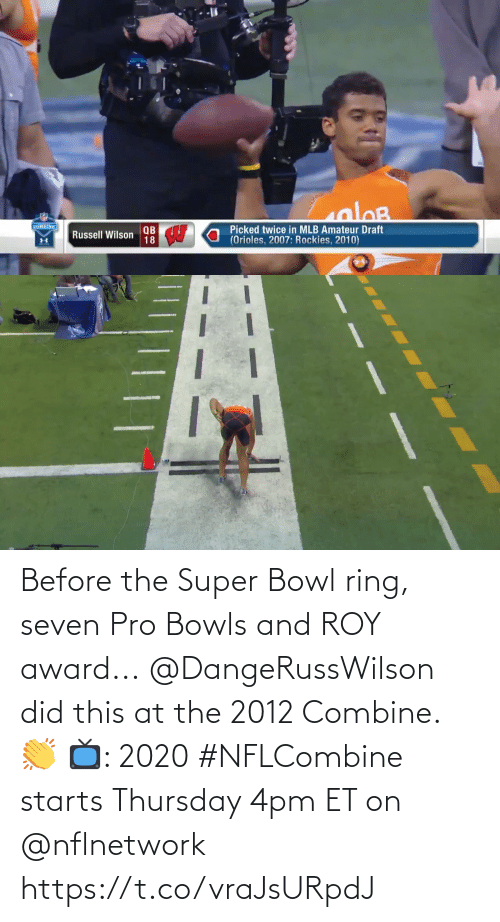 thursday: Before the Super Bowl ring, seven Pro Bowls and ROY award...  @DangeRussWilson did this at the 2012 Combine. 👏  📺: 2020 #NFLCombine starts Thursday 4pm ET on @nflnetwork https://t.co/vraJsURpdJ