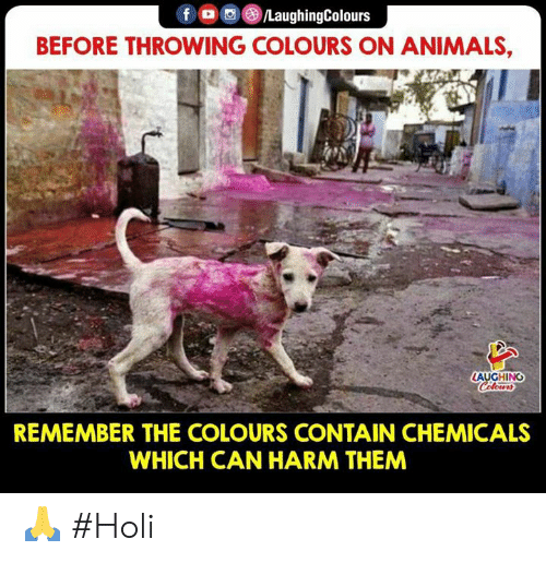 Animals, Indianpeoplefacebook, and Holi: BEFORE THROWING COLOURS ON ANIMALS,  AUGHING  REMEMBER THE COLOURS CONTAIN CHEMICALS  WHICH CAN HARM THEM 🙏 #Holi