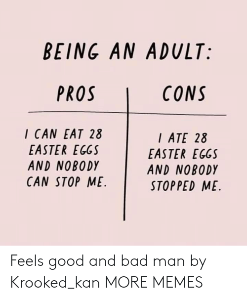 Kan: BEING AN ADULT:  CONS  I CAN EAT 28  EASTER EGGS  AND NOBODY  CAN STOP ME  ATE 28  EASTER EGGS  AND NOBODY  STOPPED ME Feels good and bad man by Krooked_kan MORE MEMES