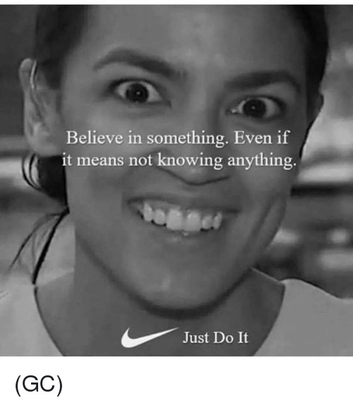 Just Do It, Memes, and 🤖: Believe in something. Even if  it means not knowing anything  Just Do It (GC)