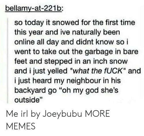 "Dank, God, and Memes: bellamy-at-221b:  so today it snowed for the first time  this year and ive naturally been  online all day and didnt know so i  went to take out the garbage in bare  feet and stepped in an inch snow  and i just yelled ""what the fUCK"" and  i just heard my neighbour in his  backyard go ""oh my god she's  outside"" Me irl by Joeybubu MORE MEMES"