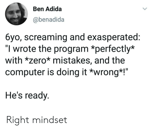 "Doing It Wrong: Ben Adida  @benadida  6yo, screaming and exasperated:  ""I wrote the program *perfectly*  with *zero* mistakes, and the  computer is doing it *wrong*!""  He's ready Right mindset"