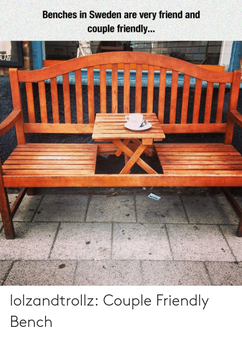 Tumblr, Blog, and Sweden: Benches in Sweden are very friend and  couple friendly... lolzandtrollz:  Couple Friendly Bench