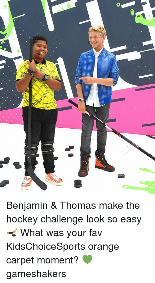 Benjamins: Benjamin & Thomas make the hockey challenge look so easy 🏒 What was your fav KidsChoiceSports orange carpet moment? 💚 gameshakers