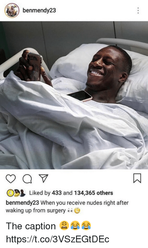 Carolina Panthers: benmendy23  Liked by 433 and 134,365 others  benmendy23 When you receive nudes right after  waking up from surgery The caption 😩😂😂 https://t.co/3VSzEGtDEc
