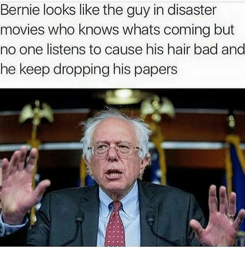 disaster movie: Bernie looks like the guy in disaster  movies who knows whats coming but  no one listens to cause his hair bad and  he keep dropping his papers
