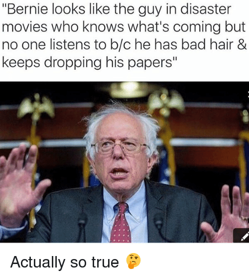 """disaster movie: """"Bernie looks like the guy in disaster  movies who knows what's coming but  no one listens to b/c he has bad hair &  keeps dropping his papers Actually so true 🤔"""
