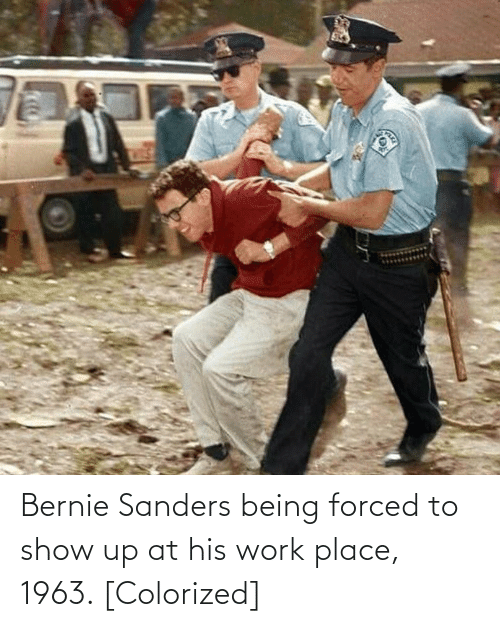 Bernie Sanders: Bernie Sanders being forced to show up at his work place, 1963. [Colorized]
