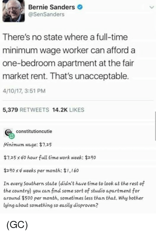 Bernie Sanders, Memes, and Work: Bernie Sanders  @SenSanders  There's no state where a full-time  minimum wage worker can afford a  one-bedroom apartment at the fair  market rent. That's unacceptable.  4/10/17, 3:51 PM  5,379 RETWEETS 14.2K LIKES  constitutioncutie  Minimum wage: $7.25  $7.25 x 40 hour full time work week: $290  $290 x 4 weeks per month: $1,160  In every Southern state (didn't have time to look at the rest of  the country) you can fimd some sort of studio apartment for  around $500 per month, sometimes less than that. Why bother  lying about something so easily disproven? (GC)