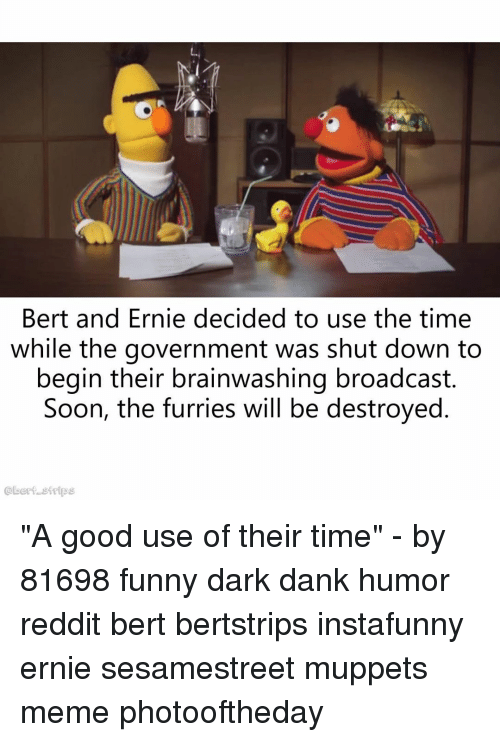 "strips: Bert and Ernie decided to use the time  while the government was shut down to  begin their brainwashing broadcast.  Soon, the furries will be destroyed  @bert strips ""A good use of their time"" - by 81698 funny dark dank humor reddit bert bertstrips instafunny ernie sesamestreet muppets meme photooftheday"