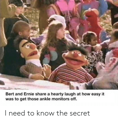 I Need To Know: Bert and Ernie share a hearty laugh at how easy it  was to get those ankle monitors off. I need to know the secret