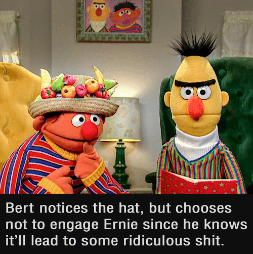 Engage: Bert notices the hat, but chooses  not to engage Ernie since he knows  it'll lead to some ridiculous shit.
