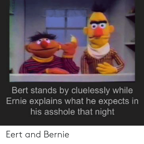 Explains What: Bert stands by cluelessly while  Ernie explains what he expects in  his asshole that night Eert and Bernie