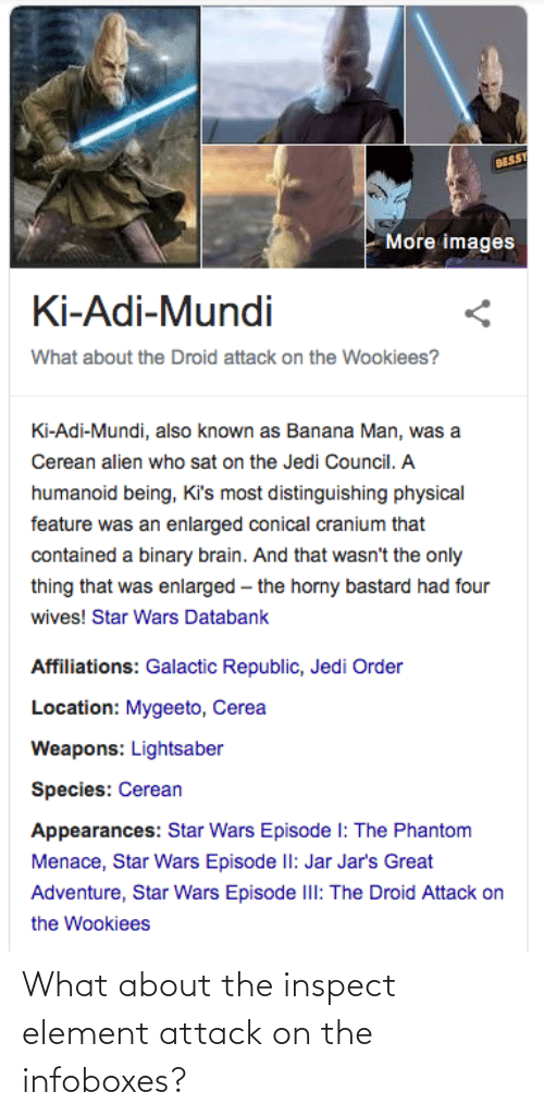 Horny, Jedi, and Lightsaber: BESSY  More images  Ki-Adi-Mundi  What about the Droid attack on the Wookiees?  Ki-Adi-Mundi, also known as Banana Man, was a  Cerean alien who sat on the Jedi Council. A  humanoid being, Ki's most distinguishing physical  feature was an enlarged conical cranium that  contained a binary brain. And that wasn't the only  thing that was enlarged – the horny bastard had four  wives! Star Wars Databank  Affiliations: Galactic Republic, Jedi Order  Location: Mygeeto, Cerea  Weapons: Lightsaber  Species: Cerean  Appearances: Star Wars Episode I: The Phantom  Menace, Star Wars Episode II: Jar Jar's Great  Adventure, Star Wars Episode IlI: The Droid Attack on  the Wookiees What about the inspect element attack on the infoboxes?
