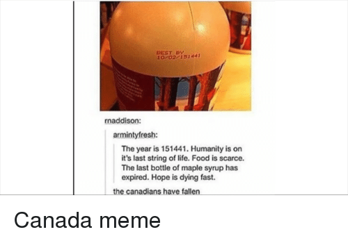 Canada Meme: BEST BY  0 02/151441  naddison:  armintyfresh:  The year is 151441. Humanity is on  it's last string of life. Food is scarce.  The last bottle of maple syrup has  expired. Hope is dying fast.  the canadians have fallen