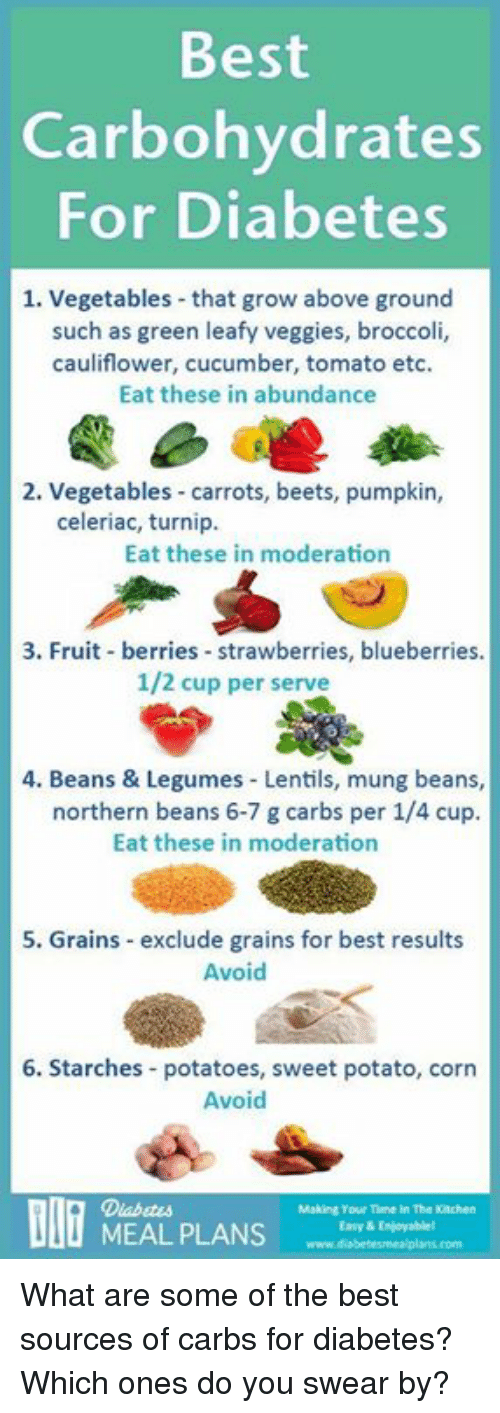 moderator: Best  Carbohydrates  For Diabetes  1. Vegetables that grow above ground  such as green leafy veggies, broccoli,  cauliflower, cucumber, tomato etc.  Eat these in abundance  2. Vegetables carrots, beets, pumpkin,  celeriac, turnip.  Eat these in moderation  3. Fruit berries strawberries, blueberries.  1/2 cup per serve  4. Beans & Legumes Lentils, mung beans,  northern beans 6-7 g carbs per 1/4 cup.  Eat these in moderation  5. Grains exclude grains for best results  Avoid  6. Starches potatoes, sweet potato, corn  Avoid  Making Tour Time In The Knehen  MEAL PLANS  Easy & Enjoyable! What are some of the best sources of carbs for diabetes? Which ones do you swear by?