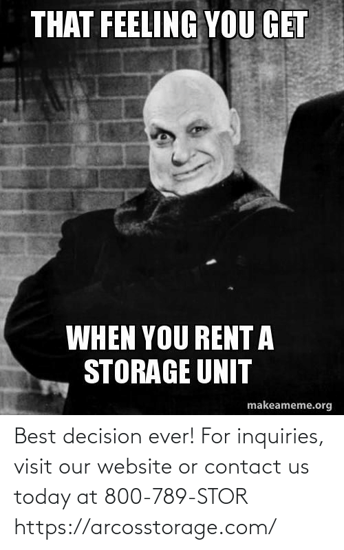 website: Best decision ever! For inquiries, visit our website or contact us today at 800-789-STOR  https://arcosstorage.com/