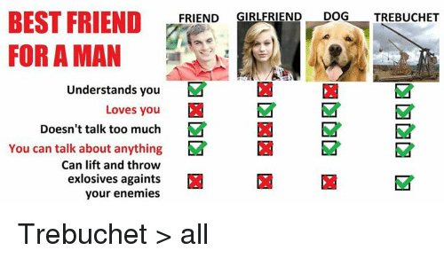 trebuchets: BEST FRIEND  FRIEND  GIRLFRIEND  DOG  TREBUCHET  FOR A MAN  Understands you  M  Loves you  Doesn't talk too much  M  You can talk about anything  Ea M  Can lift and throw  exlosives againts  your enemies Trebuchet > all