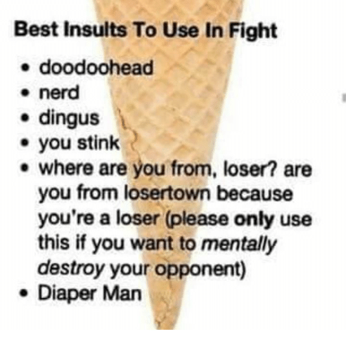 where are you from: Best Insults To Use In Fight  e doodoohead  * nerd  e dingus  you stink  e where are you from, loser? are  you from losertown because  you're a loser (please only use  this if you want to mentally  destroy your opponent)  e Diaper Man