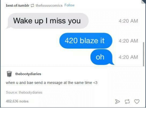 420 Blaze It: best-of-tumblr  thefuuuucomics  Follow  Wake up l miss you  420 blaze it  oh  the booty diaries  when u and bae send a message at the same time <3  Source: aries  482,636 notes  4:20 AM  4:20 AM  4:20 AM