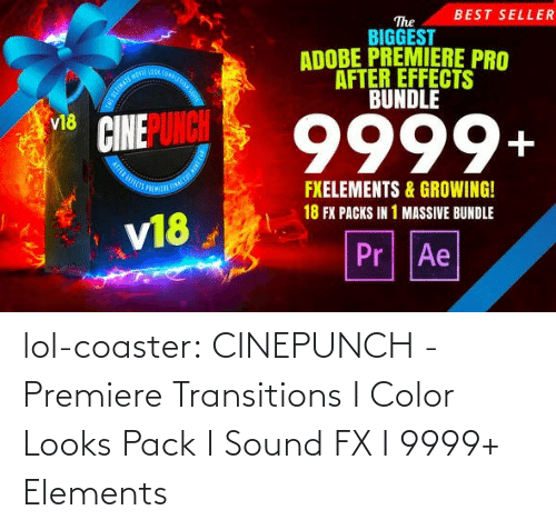 sound: BEST SELLER  The  BIGGEST  ADOBE PREMIERE PRO  AFTER EFFECTS  BUNDLE  OOA COMPLE  9999+  v18  FXELEMENTS & GROWING!  18 FX PACKS IN 1 MASSIVE BUNDLE  v18  Pr Ae lol-coaster:  CINEPUNCH - Premiere Transitions I Color Looks Pack I Sound FX I 9999+ Elements