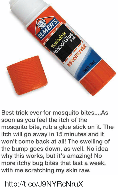 bug bites: Best trick ever for mosquito bites....As  soon as you feel the itch of the  mosquito bite, rub a glue stick on it. The  itch will go away in 15 minutes and it  won't come back at all! The swelling of  the bump goes down, as well. No idea  why this works, but it's amazing! No  more itchy bug bites that last a week,  with me scratching my skin raw. http://t.co/J9NYRcNruX