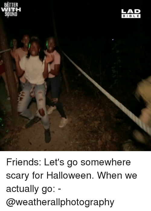 Friends, Halloween, and Memes: BETTER  WITH  SOUND  LAD  BIBL E Friends: Let's go somewhere scary for Halloween. When we actually go: - @weatherallphotography