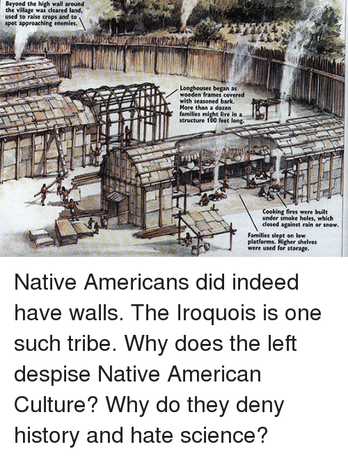 Anaconda, Native American, and Holes: Beyond the high wall around  the village was cleared land,  used to raise crops and to  spot approaching enemies.  Longhouses began as  wooden frames covered  with seasoned bark.  More than a dozen  families  structure 100 feet long.  t live in a  Cooking fires were built  under smoke holes, which  closed against rain or snow.  Families slept on low  platforms. Higher shelves  were used for storage