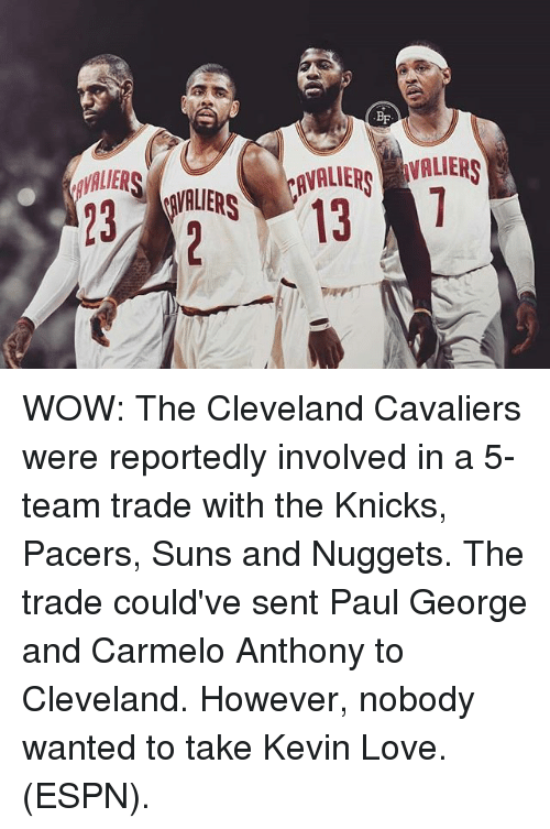 Carmelo Anthony, Cleveland Cavaliers, and Espn: BF  IR RS  23  AVALIERVALIER  213 WOW: The Cleveland Cavaliers were reportedly involved in a 5-team trade with the Knicks, Pacers, Suns and Nuggets. The trade could've sent Paul George and Carmelo Anthony to Cleveland. However, nobody wanted to take Kevin Love. (ESPN).