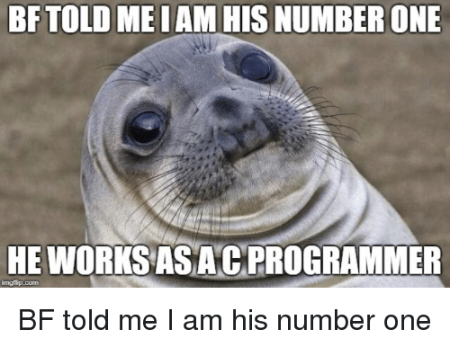 Programmer Humor: BFTOLD MEIAM HIS NUMBER ONE  HE WORKSAS ACPROGRAMMER  mgflip.com BF told me I am his number one