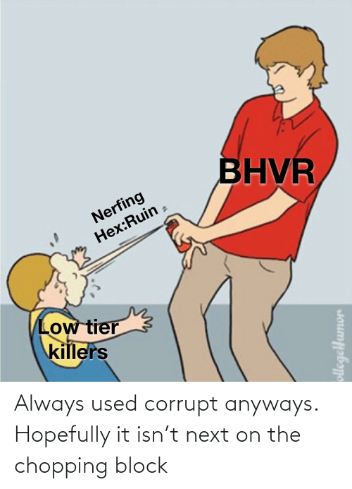 Corrupt: BHVR  Nerfing  Hex:Ruin  Low tier  killers  ollegelHumor Always used corrupt anyways. Hopefully it isn't next on the chopping block