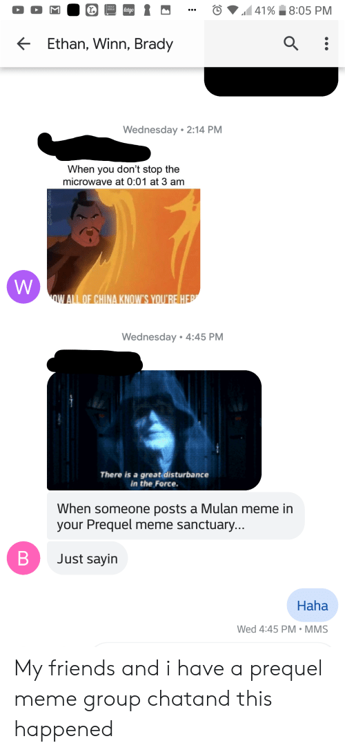Friends, Meme, and Mulan: BIBLE  Ethan, Winn, Brady  Wednesday 2:14 PM  When you don't stop the  microwave at 0:01 at 3 am  ALL OF CHINA KNOW'S YOU'RE H  Wednesday 4:45 PM  There is a great disturbance  in the Force.  When someone posts a Mulan meme in  your Prequel meme sanctuary...  Just sayin  Haha  Wed 4:45 PM-MMS My friends and i have a prequel meme group chatand this happened