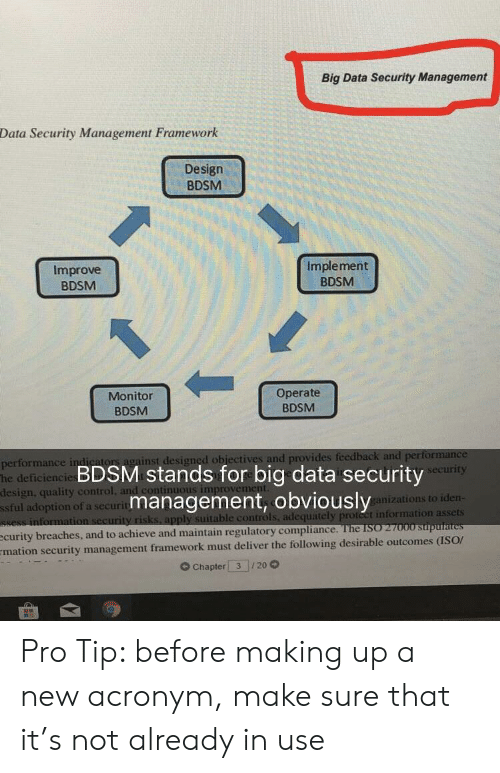 Acronym: Big Data Security Management  Data Security Management Framework  Design  BDSM  Improve  BDSM  Implement  BDSM  Monitor  BDSM  Operate  BDSM  or  ainst designed obiectives and provides  performance in  he deficiencie  design, quality control  ssful adoption of a securit  BDSM stands for big data security  management, obviously  urity  anizations to iden  ble controls, adequately proteet information assets  see  improvem  curity breaches, and to achieve and maintain regulatory compliarn  mation security management framework must deliver the following desirable outcomes (ISOr  G Chapter 3 20 Pro Tip: before making up a new acronym, make sure that it's not already in use