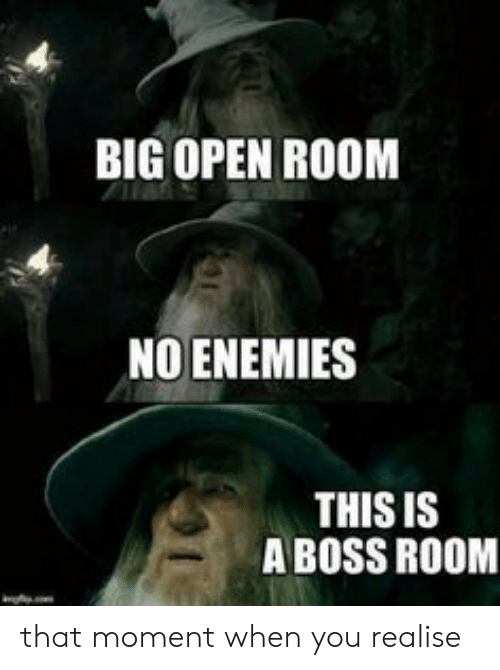 that moment when you: BIG OPEN ROOM  NO ENEMIES  THIS IS  A BOSS ROOM that moment when you realise